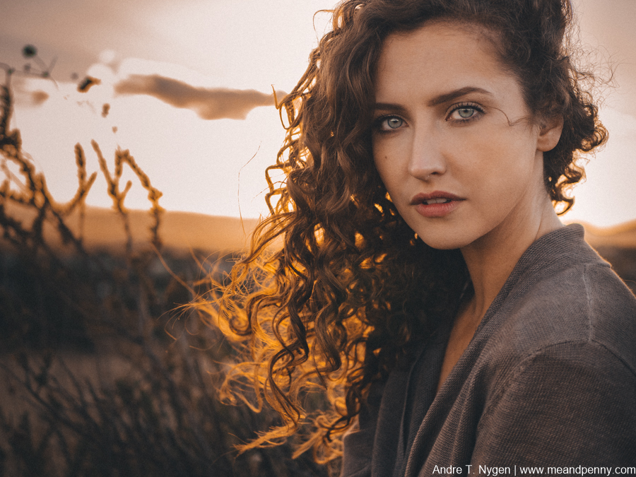 Actress Ivy Beech shot just before sundown. F1.8, 1/1000 secs, ISO 800 to increase shutter speed and compensate for super strong wind.
